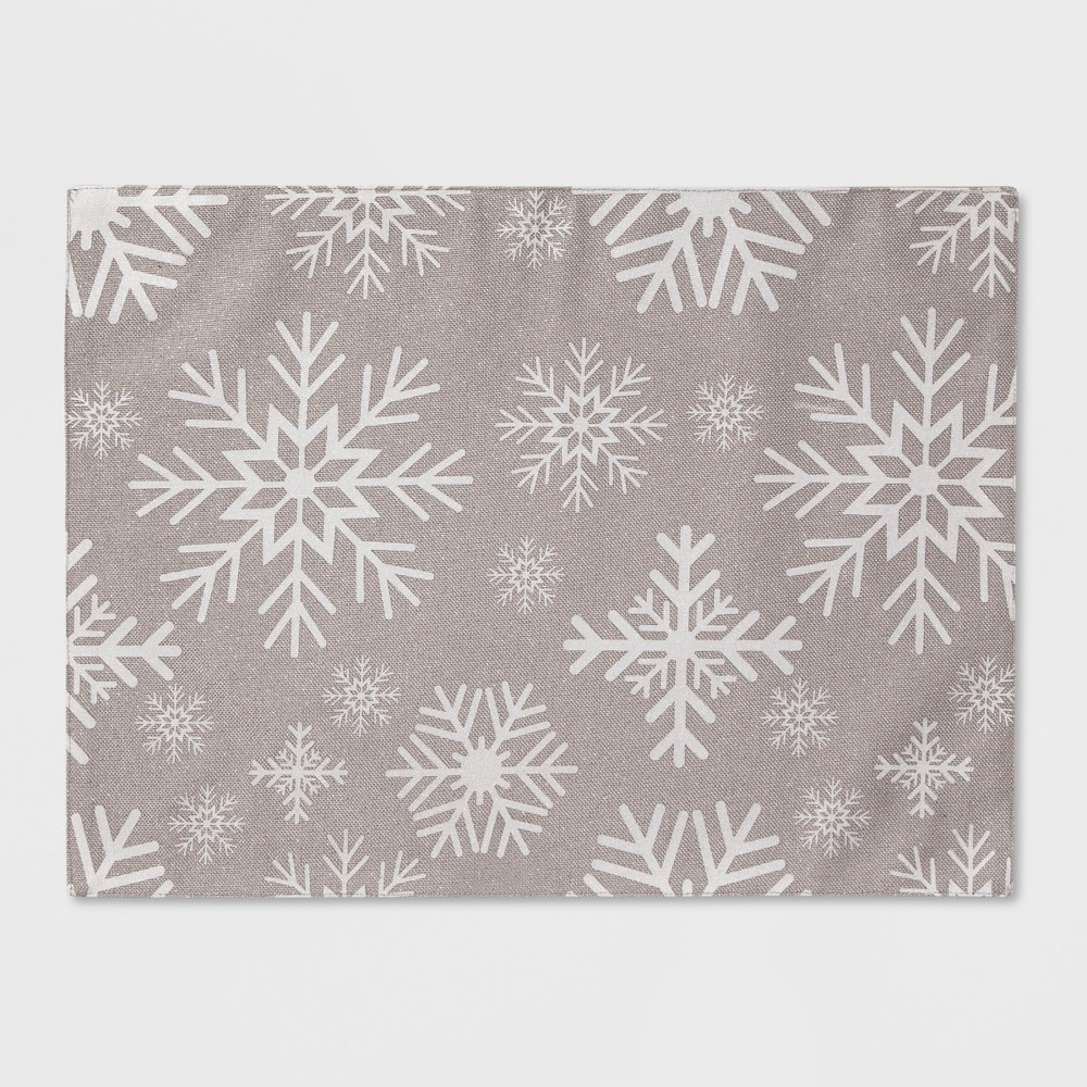 19x14 Snowflake All Over Placemat Silver - Threshold