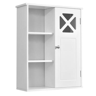 Costway Wall-Mounted Cabinet Bathroom Storage 2-Tier Shelf Multipurpose Organizer White