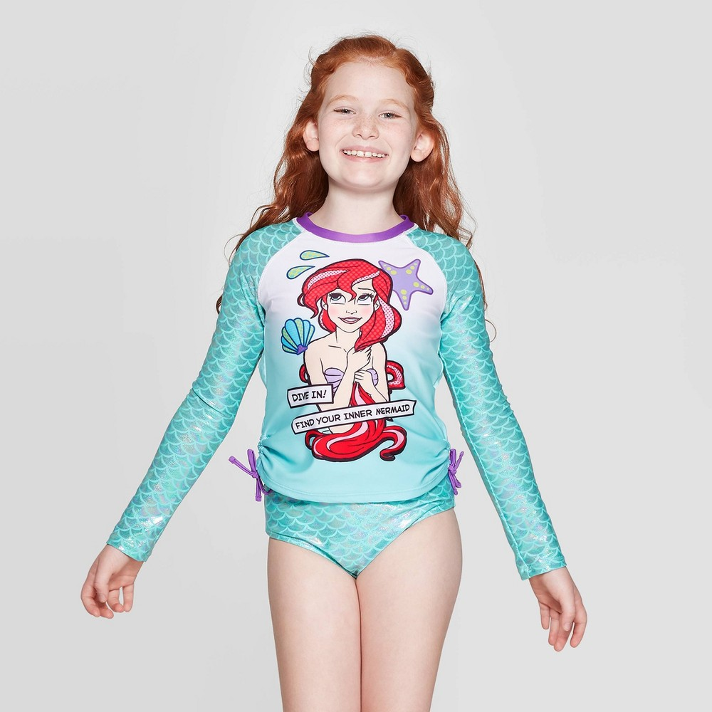 Image of Girls' Ariel 2pc Long Sleeve Rash Guard set - Green L, Girl's, Size: Large
