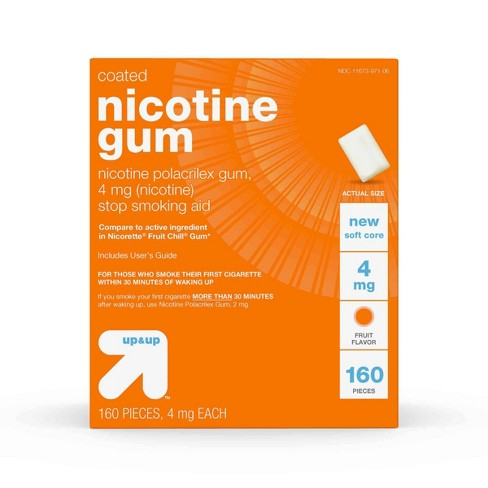 Up&Up™ Nicotine 4mg Stop Smoking Aid Fruit Coated Gum - 160ct (Compare to active ingredient in Nicorette Fruit Chill Gum) - image 1 of 6
