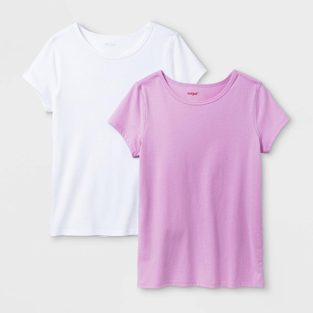 Girls 39 2pk Adaptive Short Sleeve T Shirt Cat 38 Jack 8482 White Violet M