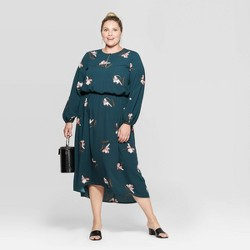 Women's Plus Size Floral Print Long Sleeve V-Neck Midi Dress - Ava & Viv™ Dark Green