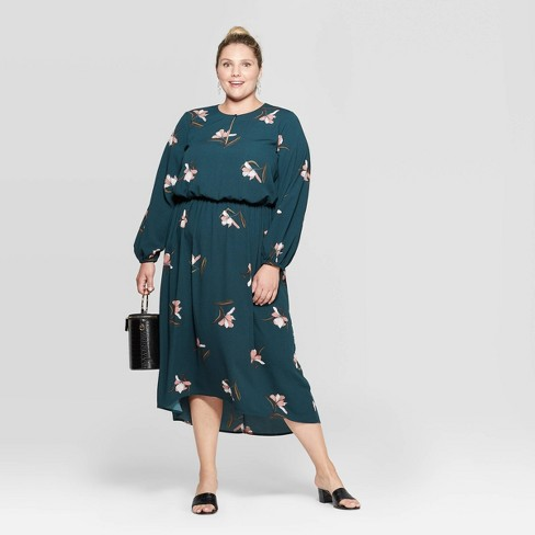 Women\'s Plus Size Floral Print Long Sleeve V-Neck Midi Dress - Ava & Viv™  Dark Green