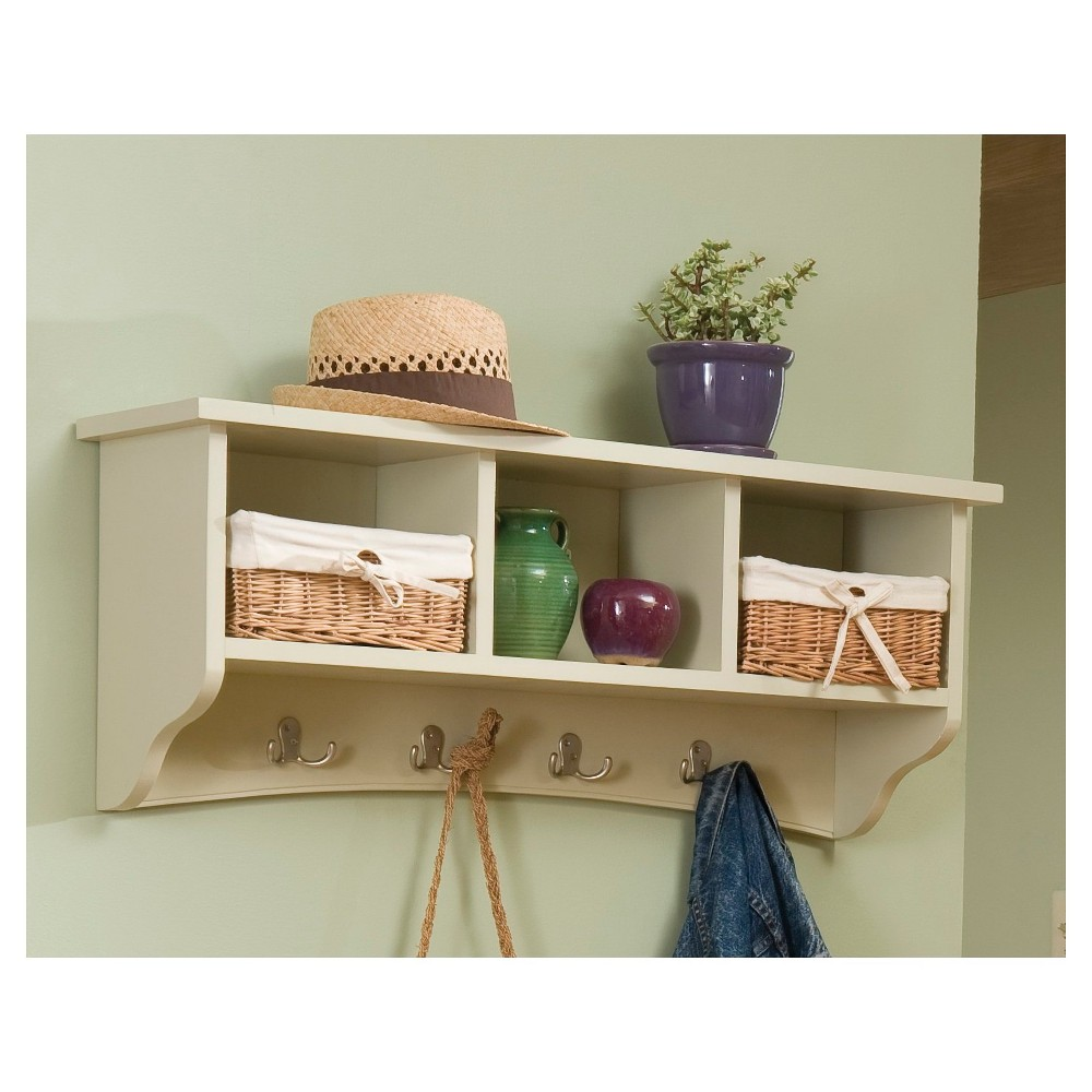 Coat Hooks with Storage Cubbies Sand - Alaterre Furniture, Tan