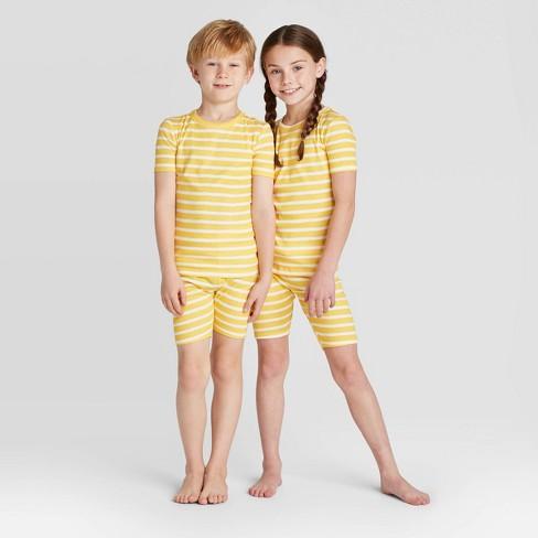 Kids' Striped Pajama Set - Yellow - image 1 of 3