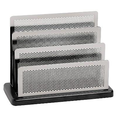Rolodex™ Mini Sorter, Three Stepped Sections, 7 1/2 x 3 1/2 x 5 3/4, Metal/Black