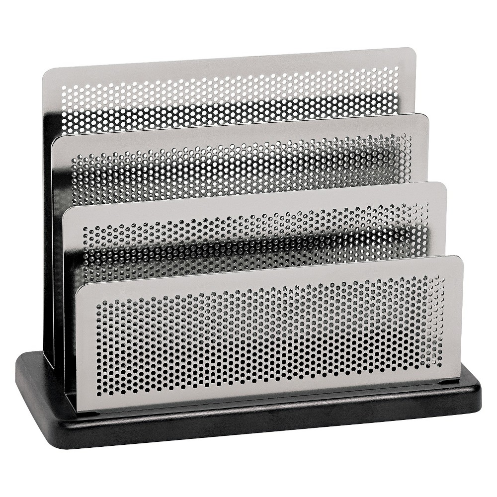Image of Rolodex Mini Sorter, Three Stepped Sections, 7 1/2 x 3 1/2 x 5 3/4, Metal/Black