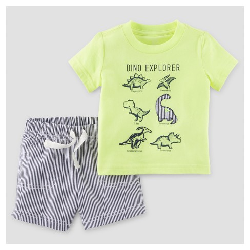 Baby Boys' 2pc Dino Explorer T-Shirt Set - Just One You™ Made by Carter's Lime 3M - image 1 of 1