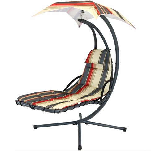 Groovy Floating Chaise Lounge Chair With Canopy Umbrella Modern Lines Sunnydaze Decor Andrewgaddart Wooden Chair Designs For Living Room Andrewgaddartcom