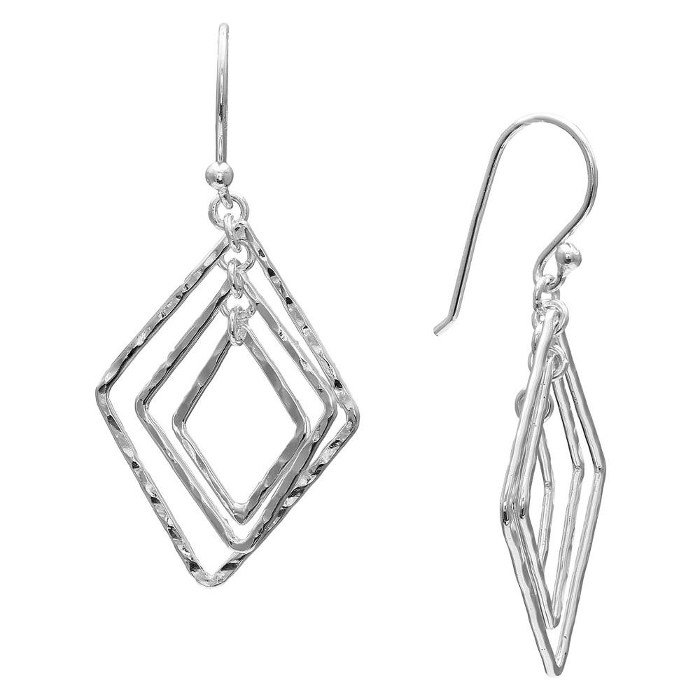 Hammered Kite Drop Earrings in Sterling Silver - Gray (1.6)