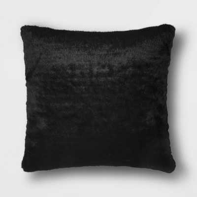 Faux Fur Hide Square Throw Pillow Black - Project 62™