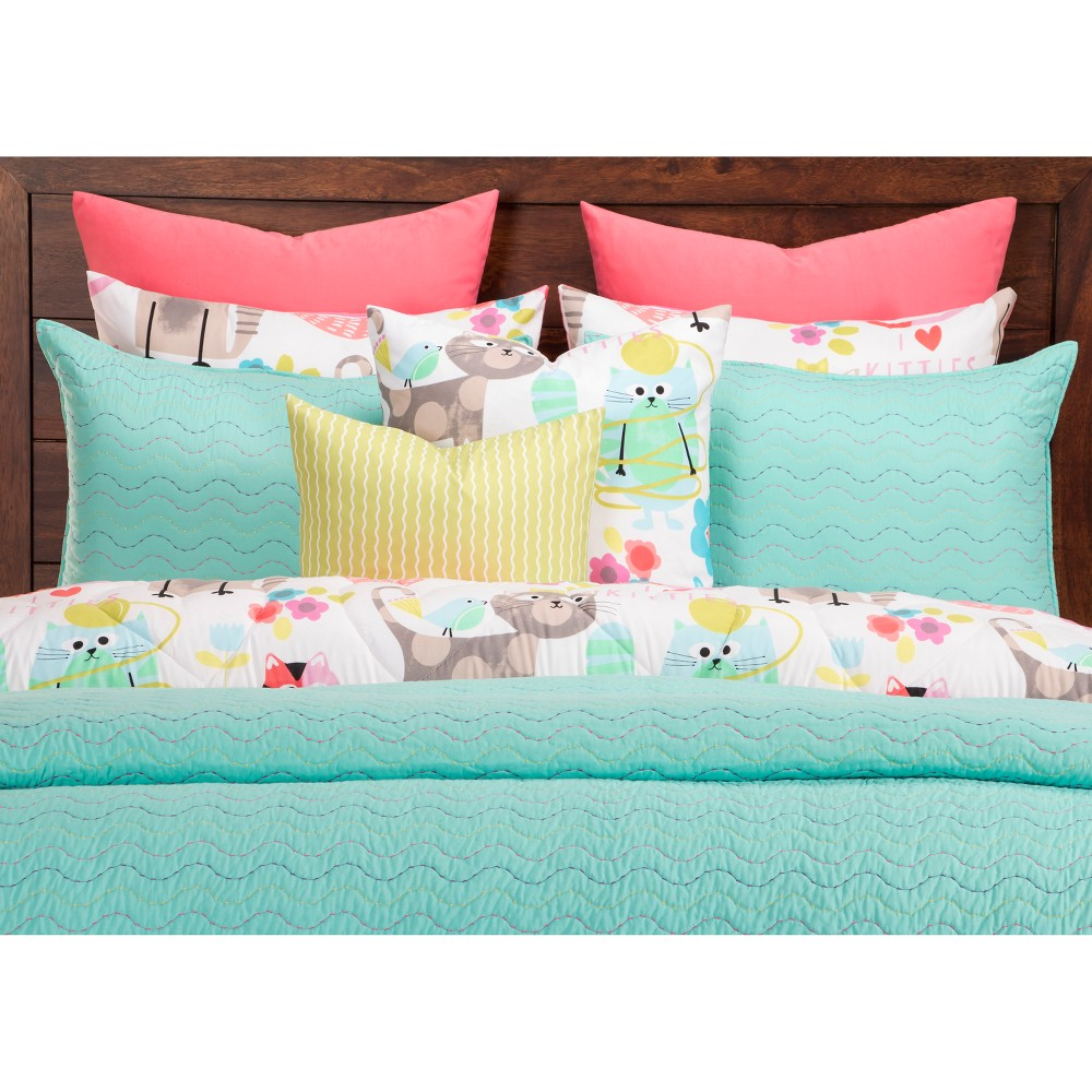 Image of Crayola Blue Stitched Coverlet Set (Full/Queen)