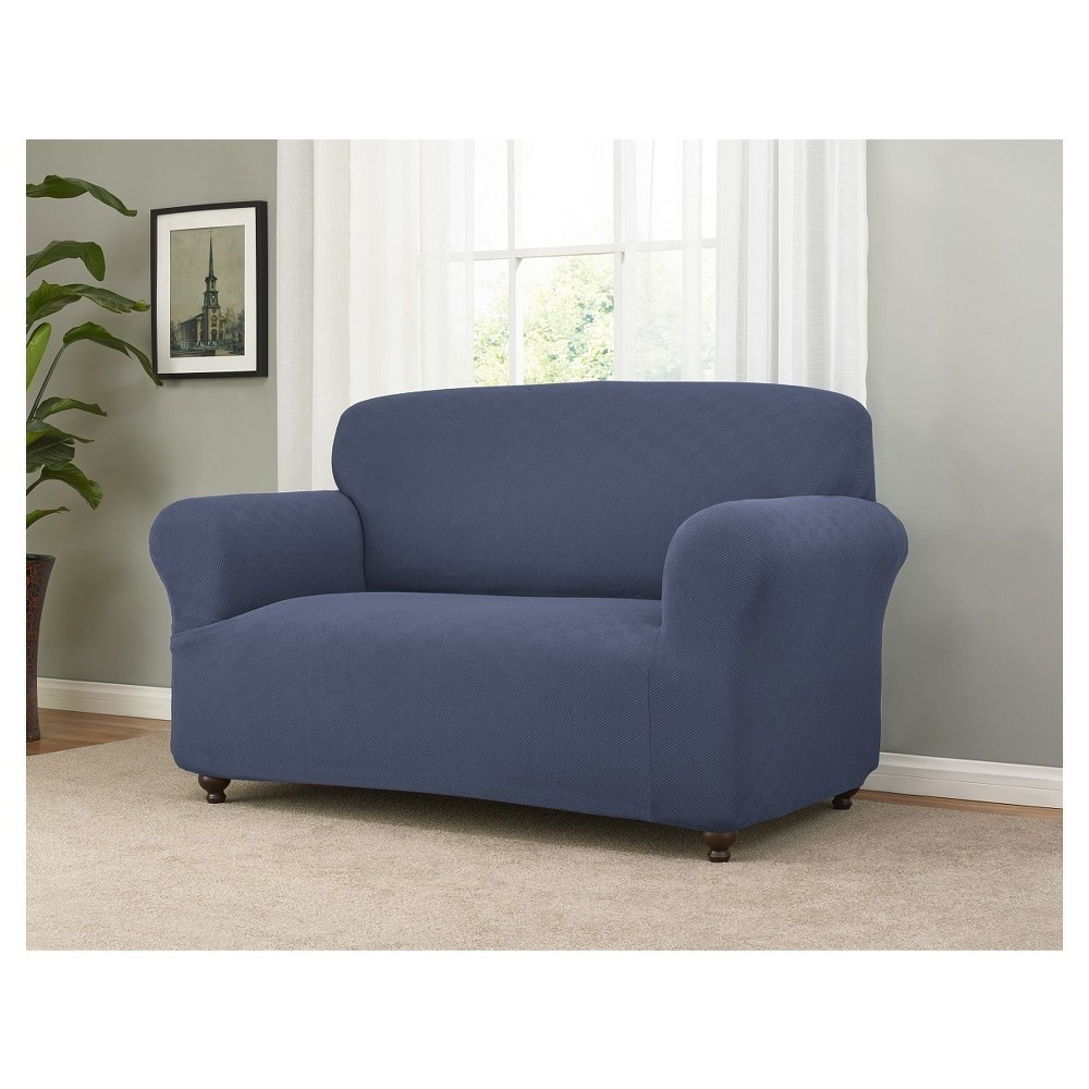 Image of Blue Solid Loveseat Slipcover