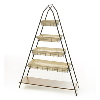 Lakeside Modern 5 Tier A Frame Pyramid Basket Shelf with Wooden Lower and Cloth Baskets