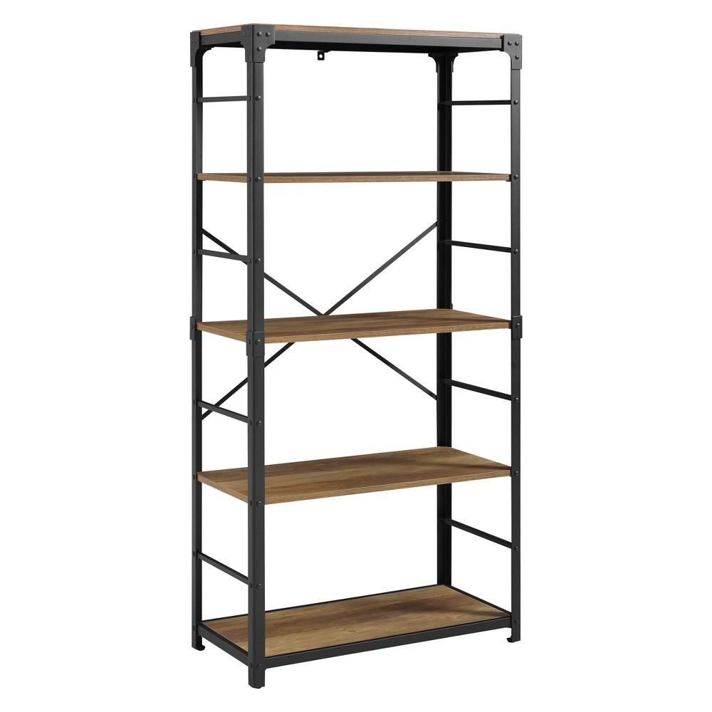 64 Angle Iron Bookshelf Rustic Oak - Saracina Home