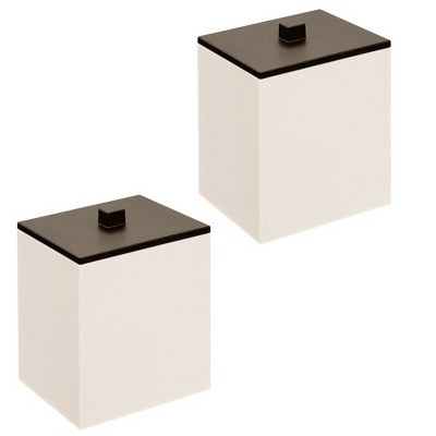 mDesign Square Storage Apothecary Jar for Bathroom, 2 Pack