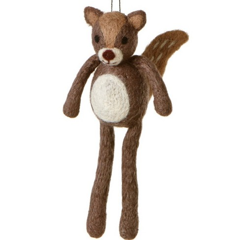 "Ganz 6.75"" Country Cabin Fuzzy Wildlife Friends Squirrel with Dangling Legs Christmas Ornament - Brown - image 1 of 1"