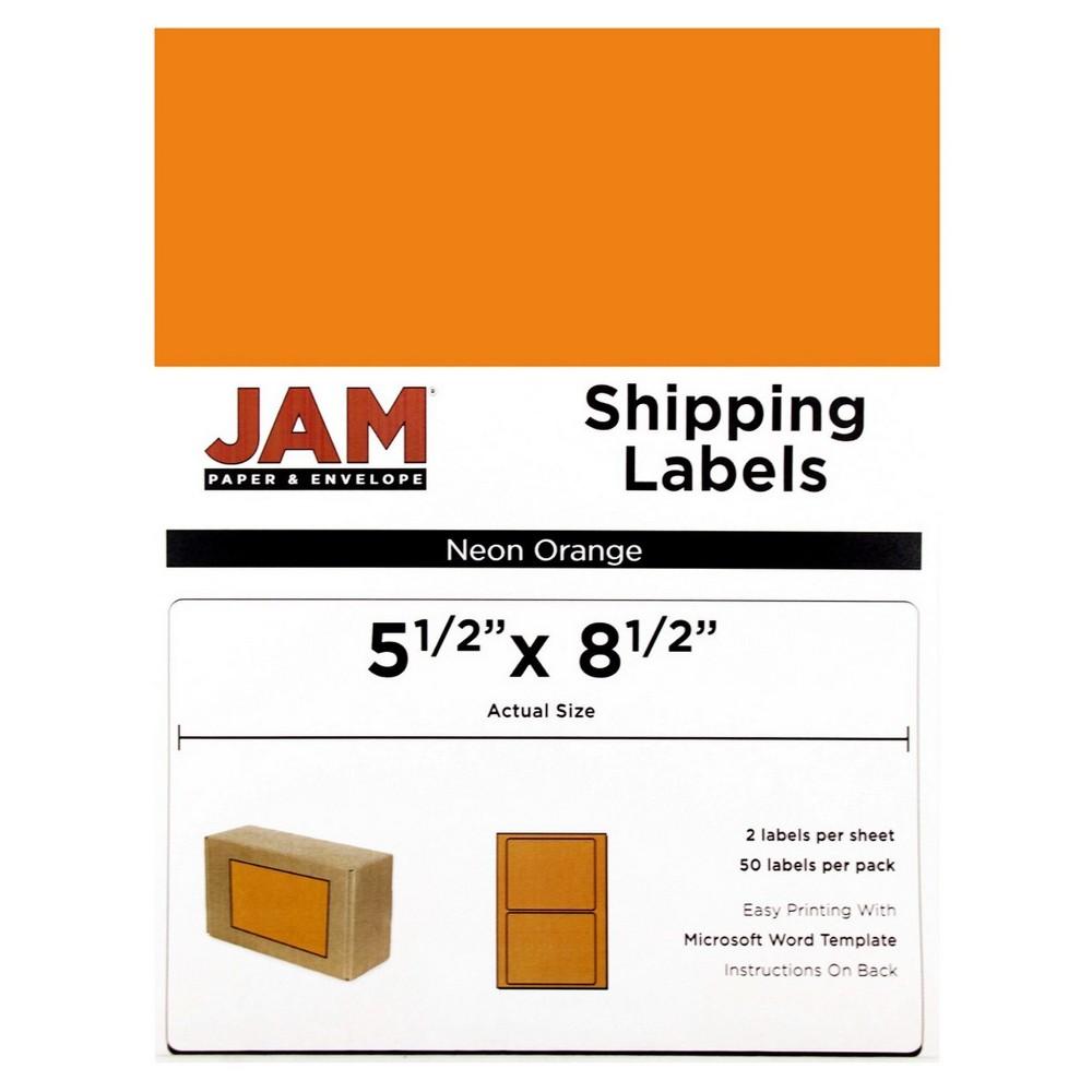Jam Paper Shipping Labels 5.5 x 8.5 50ct - Neon Orange