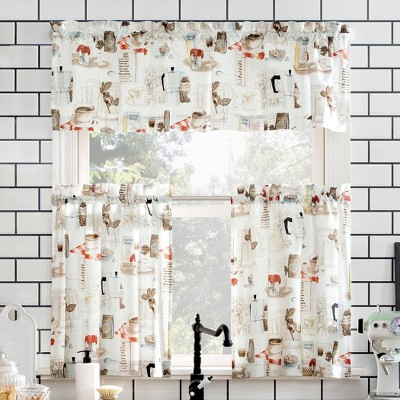 Brew Coffee Shop Semi Sheer Rod Pocket Kitchen Curtain Valance and Tiers Set White - No. 918