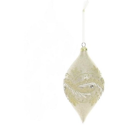 """Northlight 6"""" Embroidered Trim Glass Drop Christmas Ornament - Champagne White - image 1 of 1"""