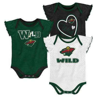 NHL Minnesota Wild Girls' Winning Goal 3pk Body Suit Set - 6-9M