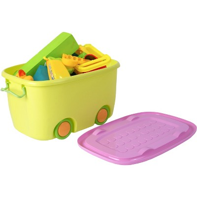 Basicwise Stackable Toy Storage Box with Wheels