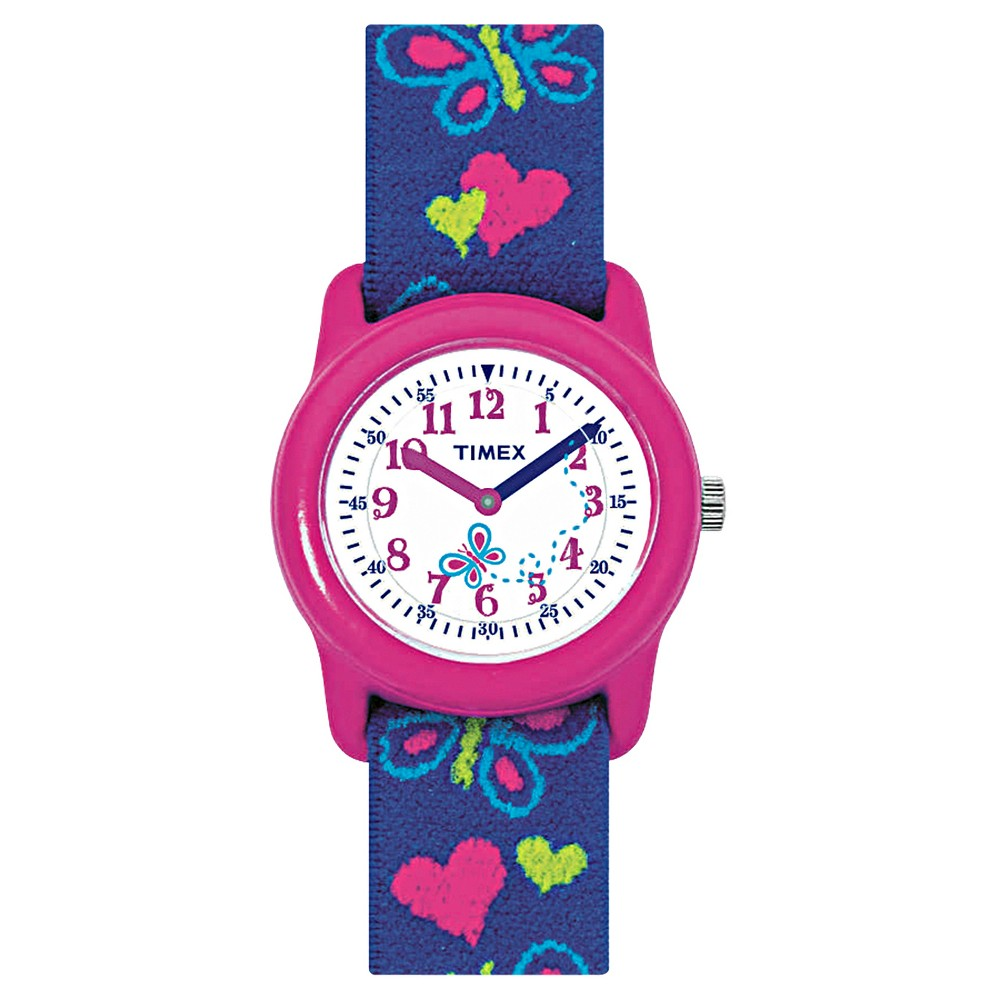 Image of Kid's Timex Watch with Butterflies and Hearts Strap - Pink/Blue T89001XY, Women's, Size: Small, MultiColored