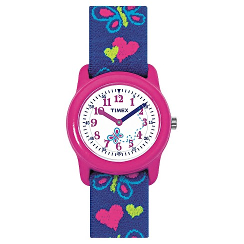 Kid's Timex Watch with Butterflies and Hearts Strap - Pink/Blue T89001XY - image 1 of 1