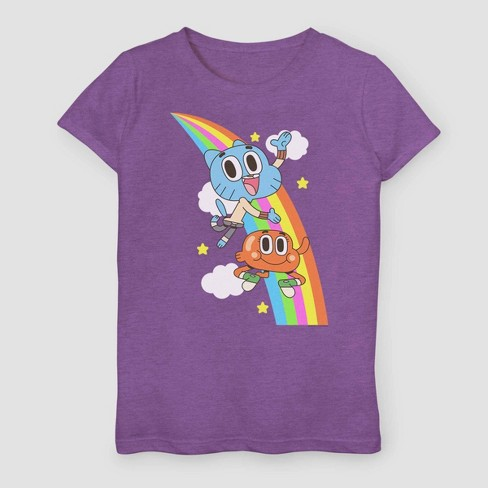 Girls' Adventure Time Gumball Rainbow T-Shirt - Purple - image 1 of 1