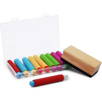 Bright Creations 12-Piece Sidewalk Chalk Holders Set with Case & Chalkboard Eraser, 5 Colors