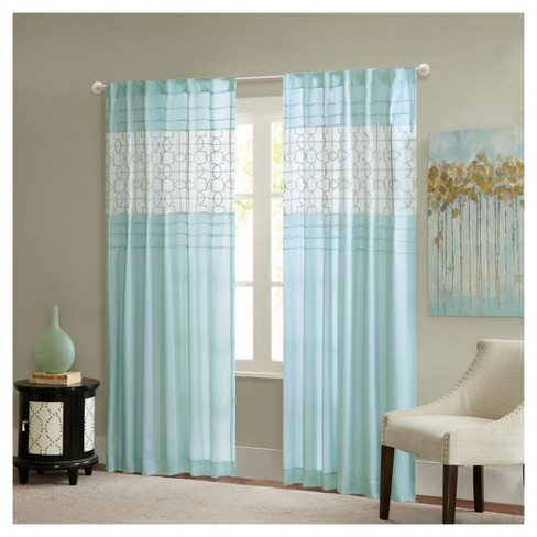 "Kendrick Pieced Embroidered Fret Window Curtain (50""x84"") - image 1 of 4"