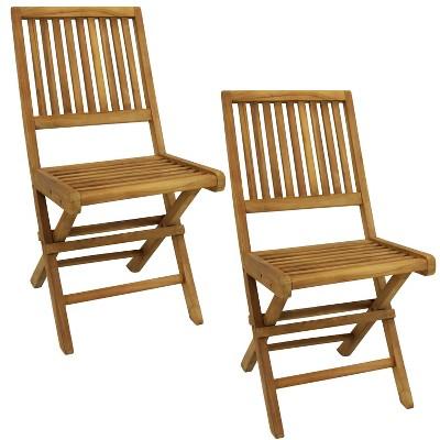 Nantasket Solid Teak Outdoor Folding Patio Dining Chair - Set of 2 - Sunnydaze Decor