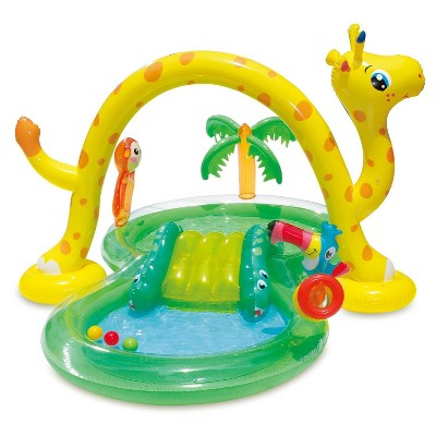 Summer Waves 8.5ft x 6.3ft x 50in Inflatable Jungle Kiddie Swimming Pool Splash Play Center with Slide and Sprinkler