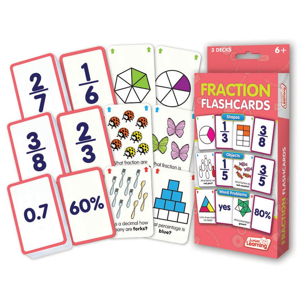 Junior Learning Fraction Flashcards - Shapes, Objects & Word Problems