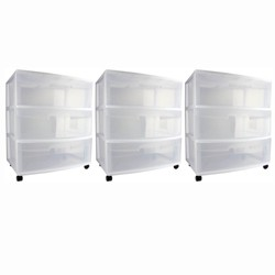 Sterilite Home 3 Drawer Wide Storage Cart Portable Container w/Casters (3 Pack)