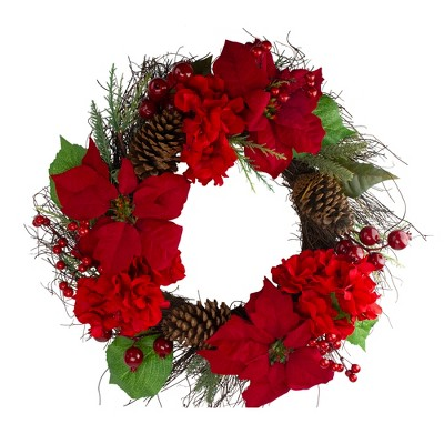Northlight Red Poinsettia and Hydrangea Flowers with Berries Artificial Christmas Wreath - 24-Inch, Unlit