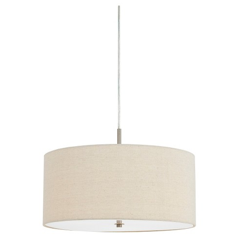 Cal Lighting 60w X 3 Addison Linen Drum Pendant
