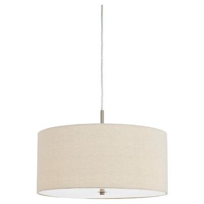 Merveilleux Cal Lighting 60W X 3 Addison Linen Drum Pendant