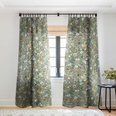 Ninola Design Wild nature Countryside Green Single Panel Sheer Window Curtain - Deny Designs