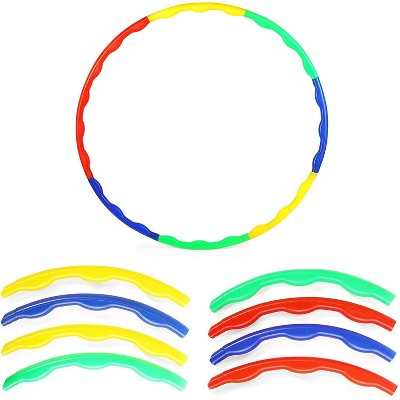 Okuna Outpost 2 Pack Adjustable Hoops for Kids, Learning Game, 16 Sections, Multi Colored
