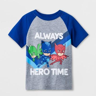 Toddler Boys' PJ Masks Raglan Short Sleeve T-Shirt - Grey 3T