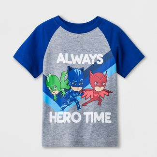 Toddler Boys' PJ Masks Raglan Short Sleeve T-Shirt - Grey 2T