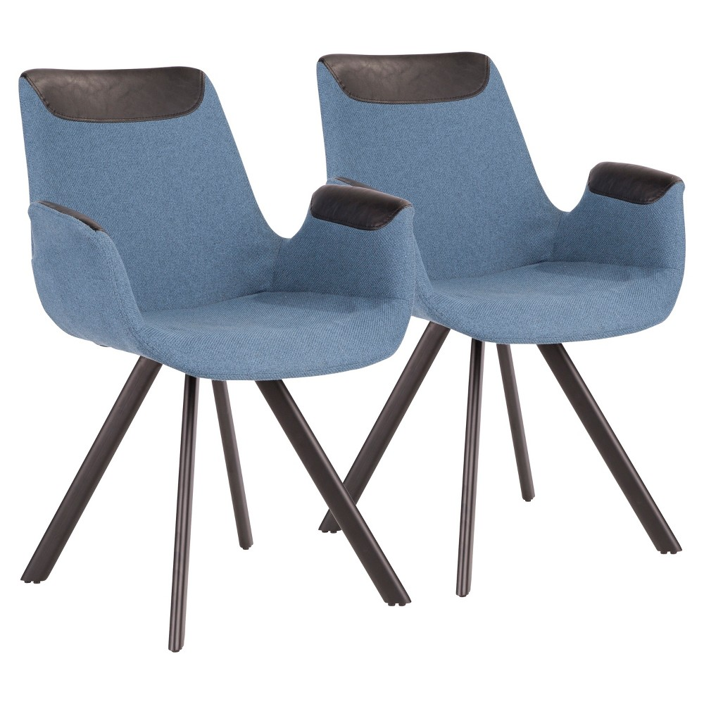 Set of 2 Industrial Vintage Flair Chair Blue - LumiSource