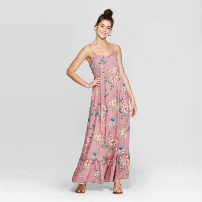 7e237b9cdb1 Women's Floral Print Strappy Scoop Neck Maxi Dress - Xhilaration™