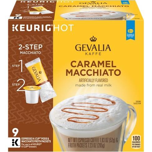 Gevalia Kaffe Light Roast Caramel Macchiato Espresso Coffee Keurig K Cup Pods 9ct