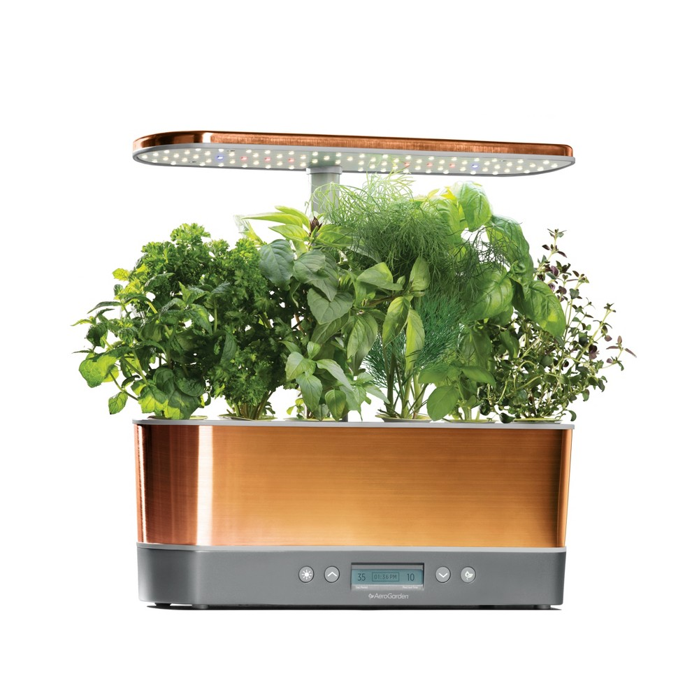 Image of AeroGarden Harvest Elite Slim with Gourmet Herbs 6-Pod Seed Kit - Copper (Brown)