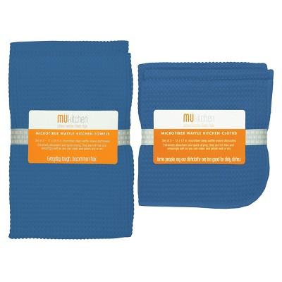 5pk Microfiber Waffle Kitchen Towel And Dish Cloth Set Blue - MU Kitchen