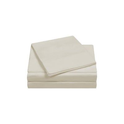 Queen 400 Thread Count Solid Percale Sheet Set Almond Milk - Charisma