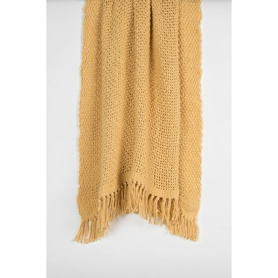 """50""""x60"""" Solid Throw Blanket Yellow - Rizzy Home"""
