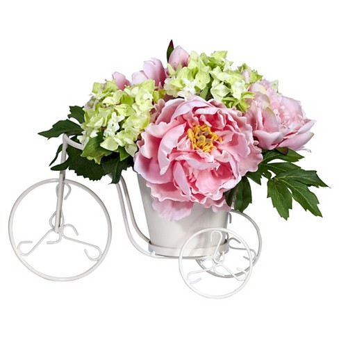 Nearly natural peony and hydrangea tricycle silk flower arrangement about this item mightylinksfo